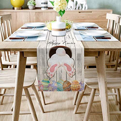 Pancarta de mesa de Pascua, Huevos de cola de conejo, Camino de mesa, Día de Pascua, decoración de fiesta, mantel de cocina, mantel para festivales de 183 x 35 cm