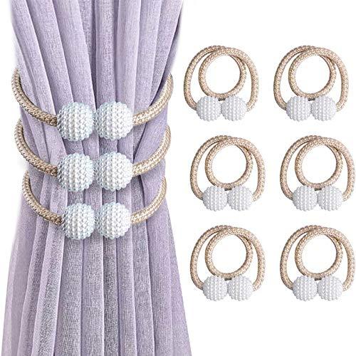 VEGCOO Lot de 6 Embrasses de Rideaux, Embrasses Rideau Aimantée Fenêtre à Billes Faux Perles Boucle de Rideau Pince pour Décoration de Bureau Maison (Beige)