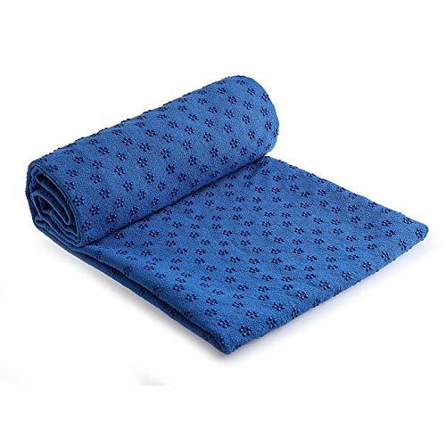 QSYT Toalla de Yoga Manta de Yoga Toalla de Yoga Suave Antideslizante Toalla de Yoga plegada Absorbente del Sudor Toalla para Yoga, meditación, Pilates y Entrenamiento, Talla única-Azul