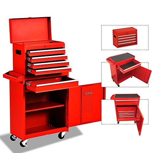 Big Tool Chest,Rolling Tool Chest,Tool Chest with Wheels and Drawers,Removable 4-Wheel Tool Chest,Tool Cabinet with 5 Drawers,Large Capacity Tool Box with Lock-Red