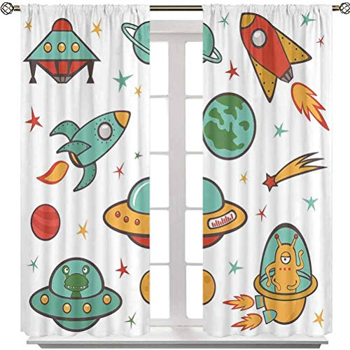 Bedroom Curtains, Outer Space Theme Rocket Space Ship UFO Stars Planets Alien Earth Saturn Galaxy Print, 84 Inches Long Noise Reducing Blackout Curtains for Bedroom(2 Panels)