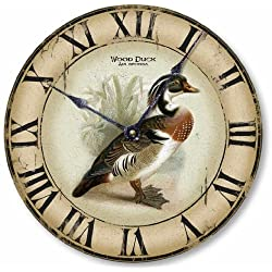 Fairy Freckles Studios Item C2301 Vintage Style 12 Inch Wood Duck Clock