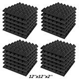 JBER Acoustic Sound Foam Panels, 24 Pack 2' X 12' X 12' Charcoal Soundproofing Treatment Studio Wall Padding Sound Absorbing Fireproof Pyramid Black Wall Panel