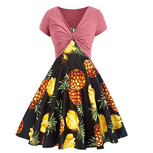 Quaan Damen Sommer frisch Regenbogen Print Kleid Sling Set Strickjacke zweiteiliges Vintage Cocktailkleid V-Ausschnitt Faltenrock Kleider Spitzenkleid Langarm Cocktailkleid Knielang Rockabilly Kleid