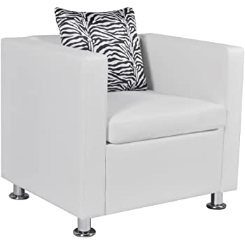 mewmewcat Chaise Fauteuil Cabriolet Cuir synthétique Blanc