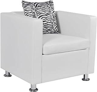 vidaXL Sillón Cuadrado Blanco de Cuero Artificial Muebles casa Asiento Bricolaje