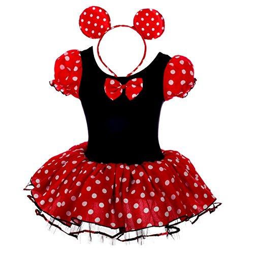 Lito Angels Baby Mädchen Prinzessin Polka Dots Tüll Kleid Kostüm Weihnachten Halloween Party VerKleid Kostümung Karneval Cosplay Kostüme mit Maus Ohren Bowknot 12-24 Monate (XS), Schwarz/Rot