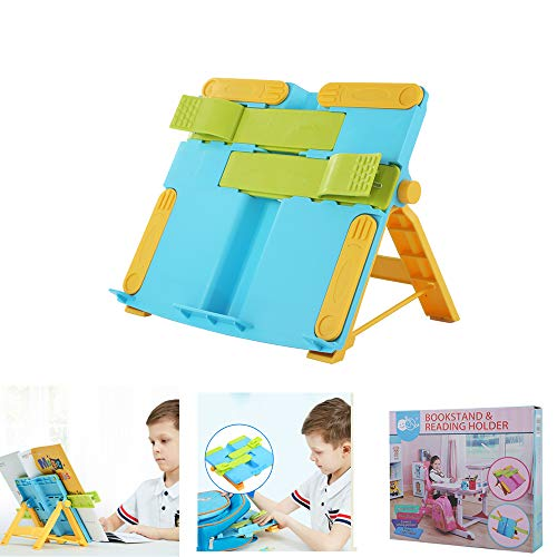 Adjustable Portable Bookstand for Kids to Display Their Reading Textbooks on The Desk. Ipad Mobile Magazine, Piano, Music Rack, Cookbook, Bible, Paper Document Easel Stands, 6 Pencil Holders Free