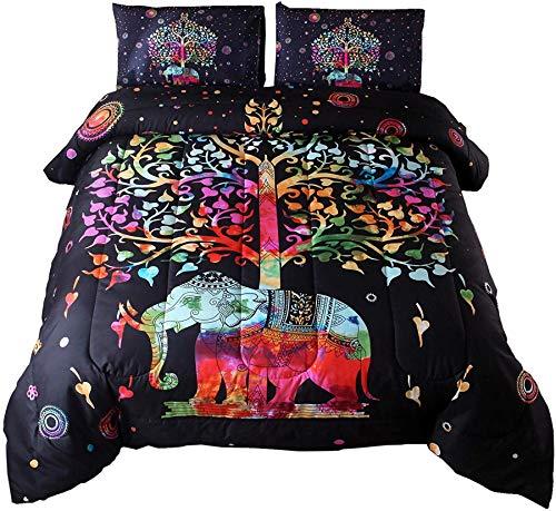 A Nice Night Bohemian Comforter Sets Full Mandala Exotic Multi Elephant Pattern with Tree Colorful Boho Quilt Bedding Sets