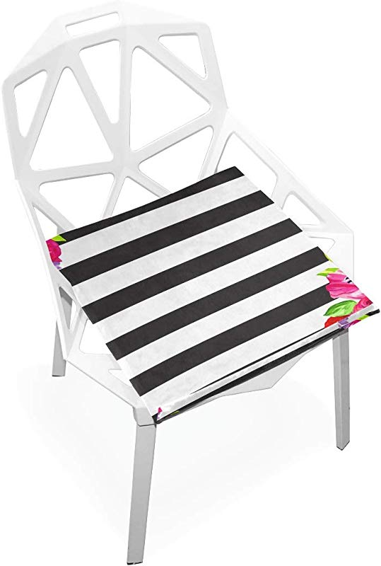 ILEEY Black Striped Floral Seat Cushion Chair Cushions Memory Foam Pads For Healthy Sitting At Home Office Kitchen Wheelchair Dining Patio Camping Square 16 X 16