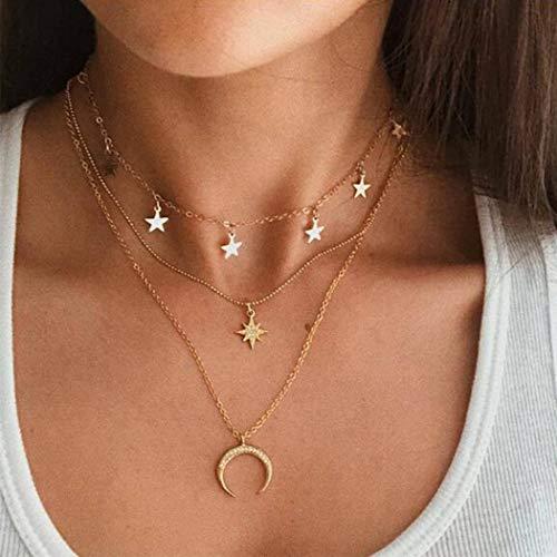 Handcess - Collana con paillettes bohémien, con ciondolo a forma di sole e luna, a strati in oro, per donne e ragazze