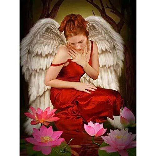 ZXL DIY 5D diamant borduurwerk volledige diamant schilderij kruis steek engel rode rok meisje Lotus mozaïek schilderij Decor voor thuis 50X60Cm