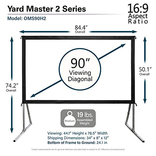 """Elite Screens Yard Master 2, 90 inch Outdoor Projector Screen with Stand 16:9, 8K 4K Ultra HD 3D Fast Folding Portable Movie Theater Cinema 90"""" Indoor Foldable Easy Snap Projection Screen, OMS90H2"""