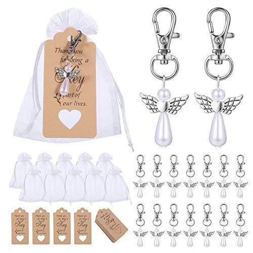 Fanshiontide 38 unidades regalo para invitados bautizo boda llavero con día Candy Bag bolsa para regalos boda decoración fiesta