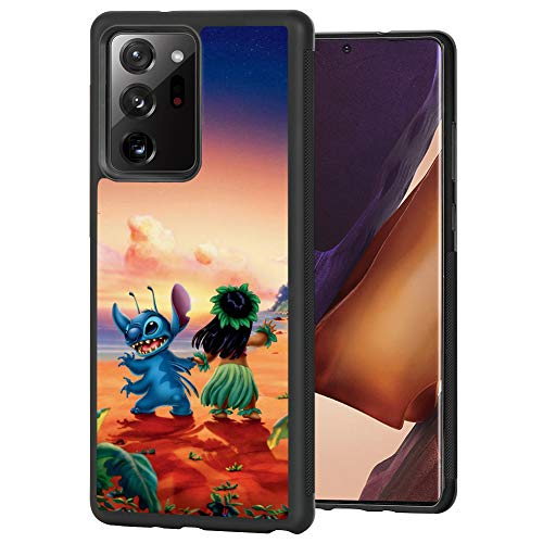 DISNEY COLLECTION Samsung Galaxy Note 20 Ultra Case 6.9 Inch Lilo Stitch Hawaii Pattern Black Side Tire Texture Non-Slip Design Shockproof Protective Cover for Samsung Galaxy Note 20 Ultra(2020)