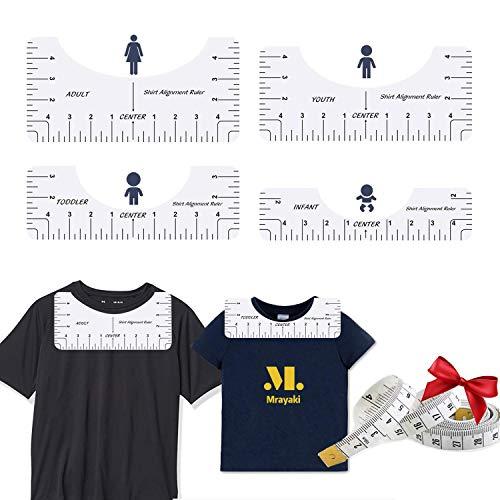 4PC T-셔츠 통치자 가이드를 정렬하는 도구 중심 디자인 T-셔츠 성인을 위한 청소년 유아 유아(4 팩+테이프를 측정)