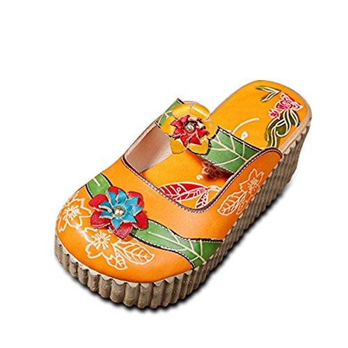 Socofy Zapatos de Cuero para Mujer Mocasines de Mujer Sandalias Planas de Verano Zapatilla Oxford de Verano Vintage Zapatilla de Deporte de Colores sin Respaldo