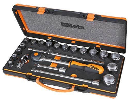 Beta 920A/C17MR - Juego de 17 llaves de vaso hexagonales y 5 accesorios de termoformato suave, en caja de chapa