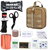 GRULLIN IFAK Trauma First Aid Kit, Tactical Molle Military Emergency Bleeding Control Set for Vehicle Truck Car Adventure Camping Shooting (TAN)