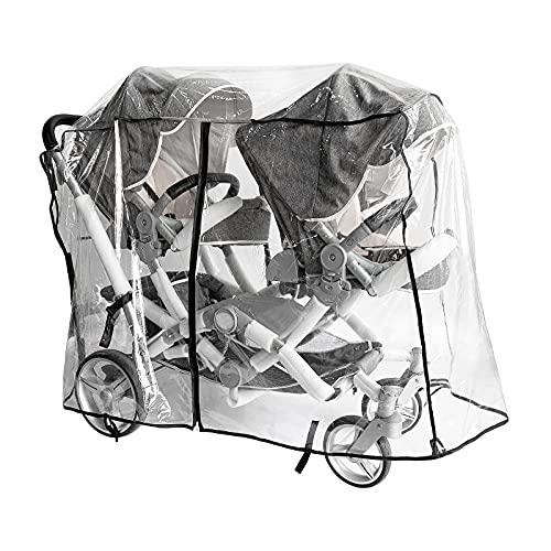 Copertura antipioggia per passeggino doppio, copertura antipioggia e vento universale di grandi dimensioni