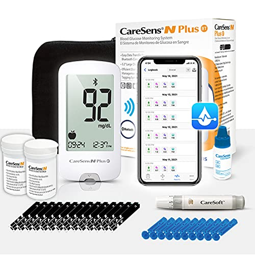 CareSens N Plus Bluetooth Blood Diabetes Monitoring Kit (Auto Coding) - Free APP, 1 Glucose Meter with 100 Glucose Test Strips, 1 Control Solution, 1 Lancing Device, 100 Lancets, 1 Case, 2 Batteries