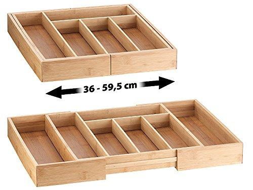 Rosenstein & Söhne Schubladeneinsatz: 2er-Set variable Bambus-Besteckeinsätze, 6-8 Fächer, 37-47 cm (Schubladeneinsatz variabel)