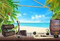 LFEEY 10x8フィート 夏休み 航海 誕生日 背景 海賊ジュエリー 胸 バレル 航海 木製ボード 海辺 ビーチ 結婚式 パーティー 休暇 写真 背景 写真スタジオ小道具