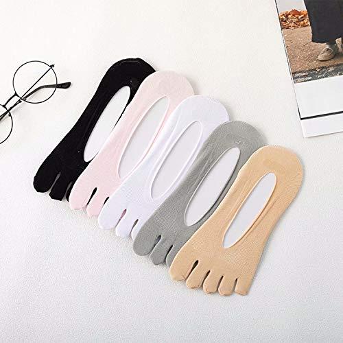5 pares de calcetines de compresión para el dedo del pie para mujer, calcetines para el dedo del pie para mujer No Show Calcetines completos para cinco dedos Calcetín con forro de corte bajo, forro de
