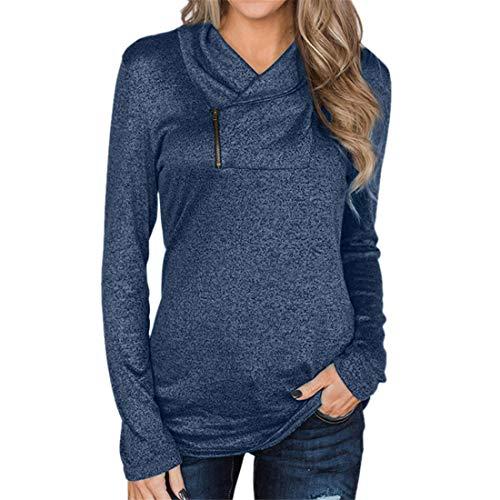 ZGRNPA Damen Sweatshirts Langarm Kordelzug Pullover T-Shirt Tunika Top Langarm Pullover mit Rundhalsausschnitt Loose Plain Sweatshirt Lässig Loose Tunika Tops Winter Damen lose T-Shirt