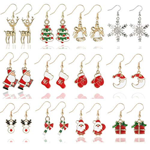 12 Pairs Christmas Earrings for Women Girls Xmas Earrings Dangle Elk Snowman Santa Claus Gift Box Glove Boots Christmas Tree Earrings Christmas Gifts for Women Girls