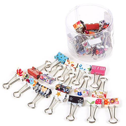 Cute, Colorful Paper Binder Clips (1.5 x 0.75 in, 40 Pack)