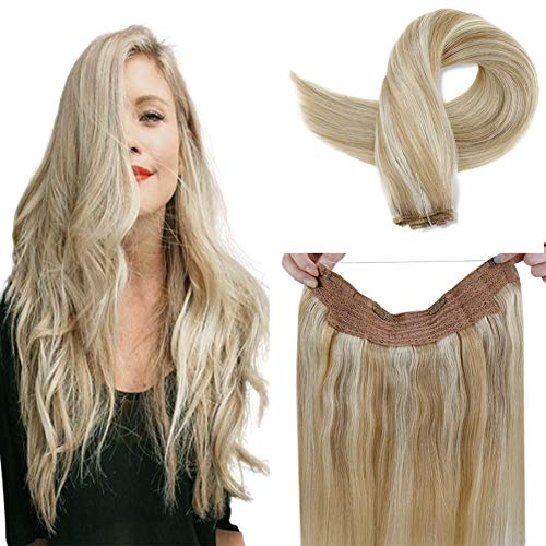 LaaVoo 16inch Halo Straight Human Hair Extensions in Highlight Color Ash Blonde Mixed Bleach Blonde Flip in Hair Best Quality Salon Style Halo Hair 11inch Width