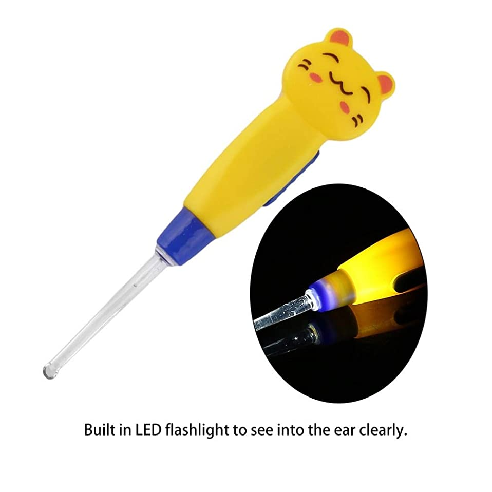できる第三上院議員ZHQI-GH 漫画動物装飾プラスチックイヤーピックポータブルLED懐中電灯イヤーワックス取り外しイヤーピッククリーナーヘルスケアツール14(カラーランダム) (Color : Yellow)