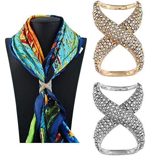 2PCS(Gold+Silver) Women Lady Girls Fashion Rhinestone Inlayed Scarf Ring Buckle Modern Simple Jewelry Silk Scarf Clasp Clips Clothing Wrap Holder Decoration Accessories for T-Shirt Neckerchief Shawl