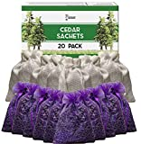 Cedar Chips and Lavender Sachets - Moth Repellent & Home Fragrance Sachets (20 Pack) for Drawers and Closets. Natural Clothes Moths Repellant Cedar Chips and Dried Lavendar with Long-Lasting Aroma
