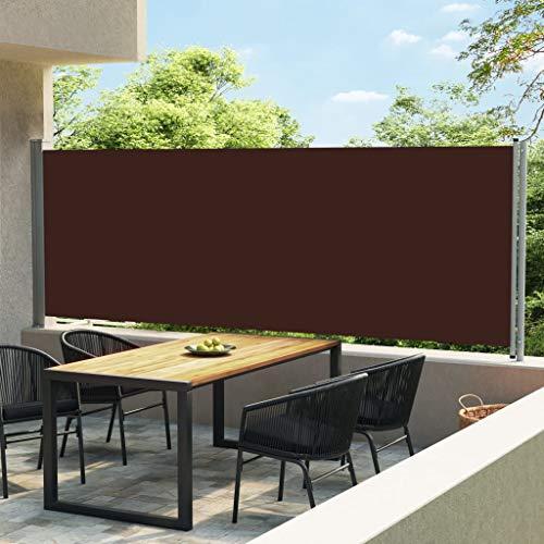 vidaXL Seitenmarkise Ausziehbar UV-beständig Wasserbeständig Sonnenschutz Sichtschutz Windschutz Seitenrollo Markise Balkon Garten Terrasse 600x160cm Braun