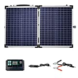 TWSOUL Solar Panel Kit, 100W Foldable Monocrystalline Solar Suitcase Portable with Controller to Charge 12V Batteries for Indoor & Outdoor Power Alternative