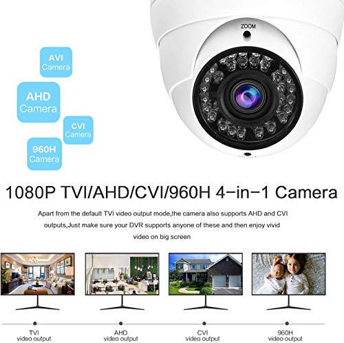 Anpviz 1080P Hybrid 4-in-1 CCTV HD Security Dome Camera,(TVI/AHD/CVI/CVBS) 2.8-12mm Lens Varifocal Wide Viewing Angle Analog Surveillance CCTV Camera, Weatherproof Indoor/Outdoor Camera Waterproof