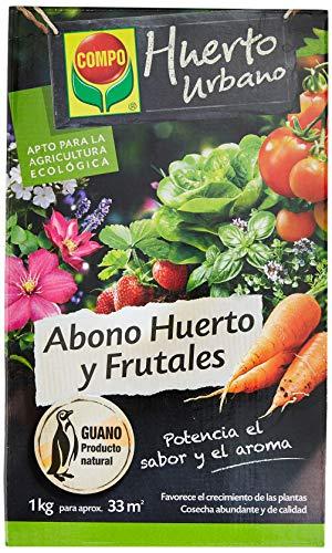 Compo Huerto y Frutales Abono ecológico natural con guano para todo tipo de plantas, 1 kg, 33 m, 22 X 14.2 X 4.7 Cm