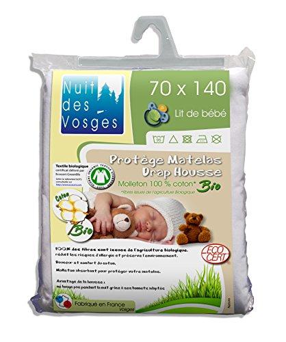 Nuit des Vosges 230142 matrasbeschermer, Molton, Bio voor babybed katoen wit 70 x 140 cm