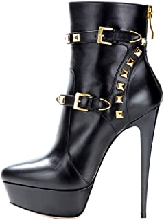 Onlymaker Women's Handcrafted Rounded Toe Side Zipper Slim Fashion Ankle Boots