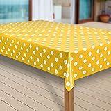 laro Wachstuch-Tischdecke Abwaschbar Garten-Tischdecke Wachstischdecke PVC Plastik-Tischdecken Eckig Meterware Wasserabweisend Abwischbar G07, Muster:Punkte gelb, Größe:100x180 cm