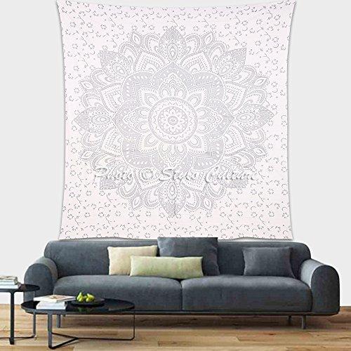 Stylo Culture Indien Bohème Argent Mandala Tapisserie Tenture Murale Floral Wall Decor Hanging Pique-Nique Jet Double Imprimé Tenture Murale Boho