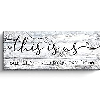 This Is Us Wall Decor Rustic Farmhouse Decor for the Home Inspirational Canvas Print Framed 6 x 17 Inch  white