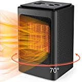 Space Heater, 1500W Portable Electric Oscillating Heater, Fast Heating Ceramic Small Room Heater with Over Heat & Tip Over Protection, Personal Heater for Home Office Bedroom Under Desk Indoor Use