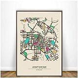 Pintura de la lona amsterdam anaheim mapas de la ciudad colorida arte pintura cartel impresiones de la pared cuadro de la lona para la decoración de la habitación del hogar-80x105cm1pcs sin marco
