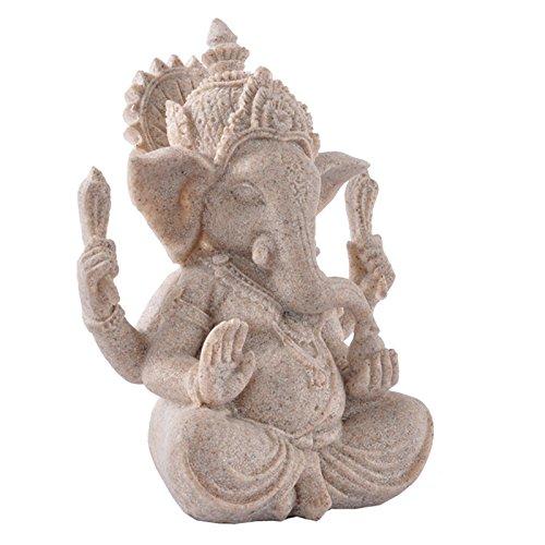 Homyl Sandstein Ganesha Buddha Elefanten Statue Skulptur handgefertigte Figur