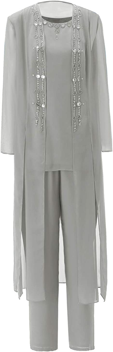 3 Pieces Mother of The Bride Pant Suits Women Chiffon Crystal Dress with Tea Length Outfit Jacket