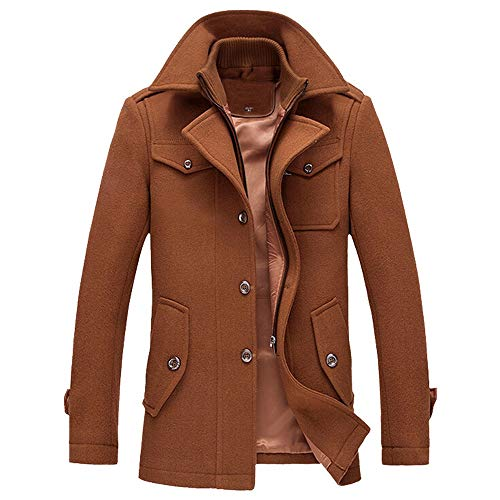 Mr.Macy Men Fashion Business Coat Casual Wool Trench Long Thicken Slim Jacket Coffee