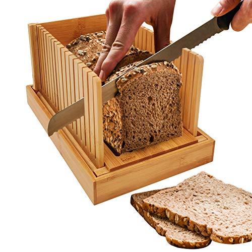Cortador de pan plegable de madera de bambú para pan de madera compacta, grosor ajustable, guía de corte de pan con bandeja recogemigas para pan casero, plegable y compacta con bandeja para migas.
